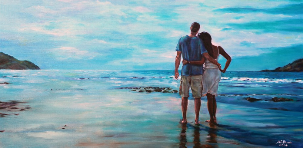 Sunset Love - Couple on Beach Painting