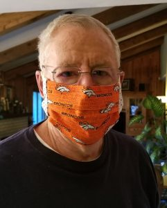 Dad in Broncos mask