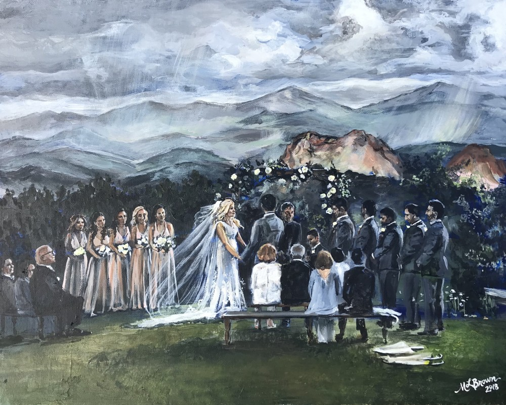 Garden of the Gods 2018. This bride requested the painting be the colors of her wedding: grays, rose, and gold.