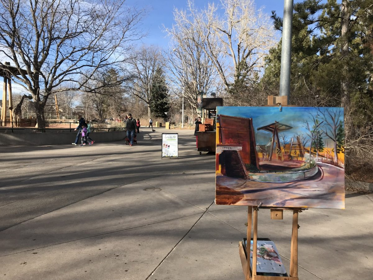 Live painting at Denver Zoo giraffe house.
